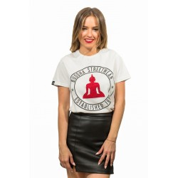 CAMISETA BUDDHA CON LOGO ESTABLISHED BLANCO.