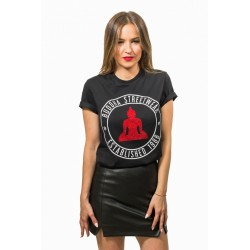 CAMISETA BUDDHA CON LOGO ESTABLISHED NEGRO.