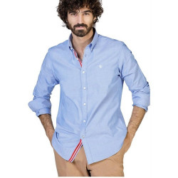CAMISA SLIM FIT EN AZUL LISO CAMBRIDGE DE EL GANS.